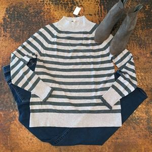 NWT Loft Striped Ruffle Cuff Mock Neck Sweater